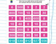 Three-digit place value matching cards