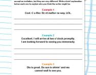 Time, place and experience in writing worksheet