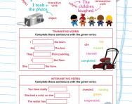 Transitive and intransitive verbs worksheet
