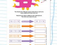 Turning addition into subtraction worksheet