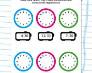 Understanding clock faces to the half hour worksheet