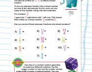 Understanding improper fractions worksheet