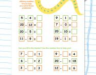 Using a number line 0-20: subtraction worksheet