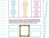 Using a WOW word Bank worksheet