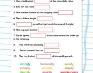 Using adverbs correctly worksheet