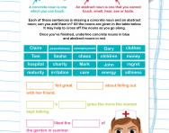 Using concrete and abstract nouns worksheet