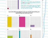 Using decimal notation for tenths and hundredths worksheet
