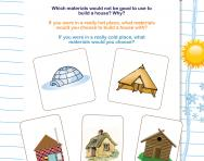 Using different materials to make a home worksheet
