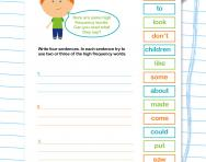 Using high frequency words in sentences worksheets
