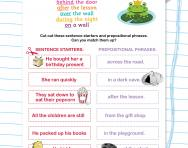 Using prepositional phrases worksheet