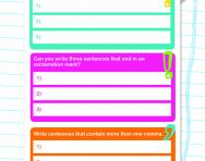 Using question marks, commas and exclamation marks worksheet