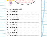 Using similes worksheet