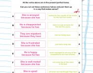 Using the present perfect tense worksheet