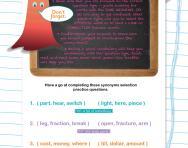 Verbal reasoning worksheet: Synonyms selection practice
