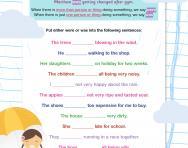 Were or was worksheet