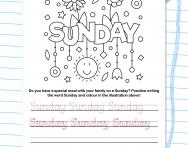 Write the days of the week: Sunday