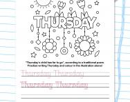 Write the days of the week: Thursday