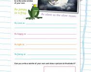 Writing similes worksheet