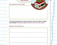 Writing a story start worksheet