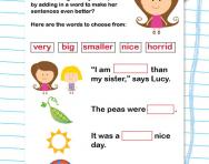 Writing descriptive sentences worksheet