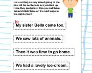 Writing sentences in order worksheet