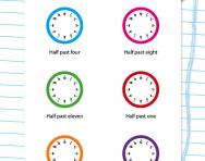 Writing the time to the half hour worksheet