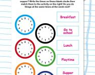 Writing time: your day on the clock worksheet