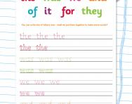 Handwriting high frequency words