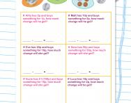 Y1 money maths worksheet