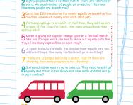 Y2 division word problems football worksheet