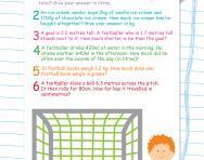 Y5 measures word problems football worksheet