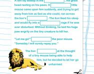 Year 2 Cloze test: the mouse and the lion