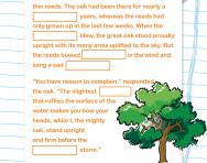 Year 2 Cloze test: the oak and the reeds