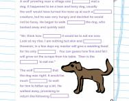 Year 3 Cloze test: the lean dog and the hungry wolf