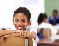 Year 3 child in classroom