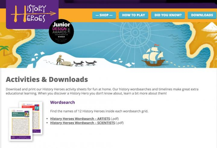 History Heroes downloads and activities