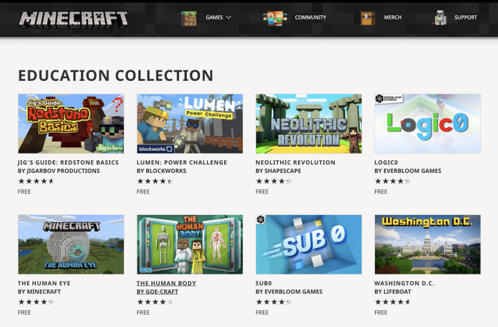 Minecraft Education home learning