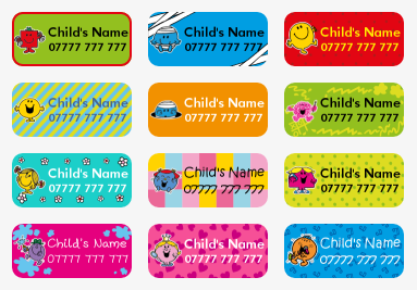 Mr Men and Little Miss Labels, My Nametags