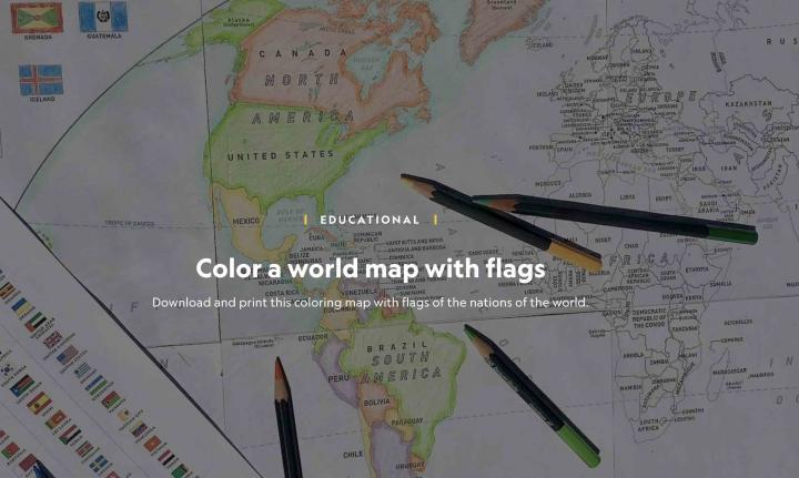 National Geographic World Map to colour in
