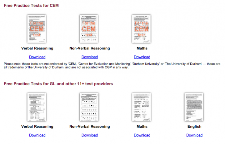 Free 'mock' practice tests written in the style of the CEM and GL Assessment tests from CGP