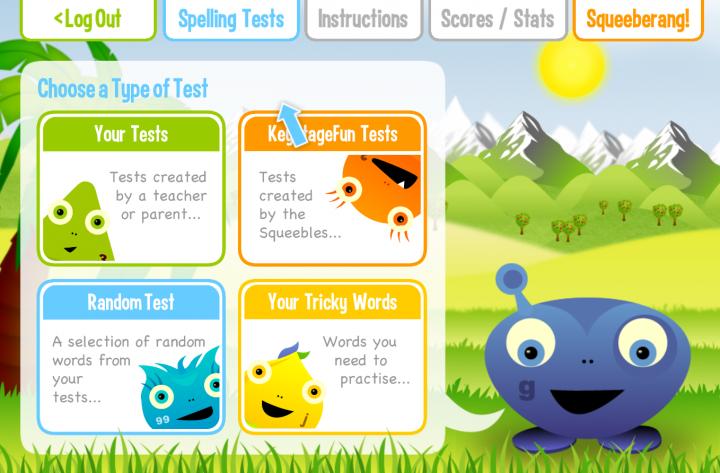 Squeebles Spelling Test app
