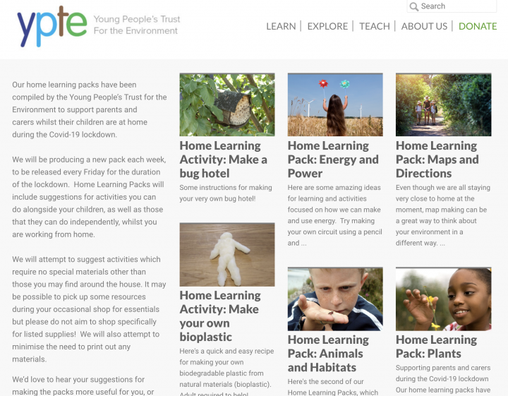 Home Learning Packs from the Young People's Trust for the Environment