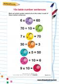 10 times table number sentences worksheet