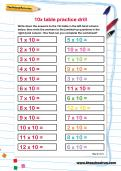 10 times table practice drill worksheet