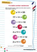 11 times table number sentences worksheet