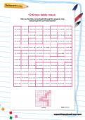 12 times table maze worksheet