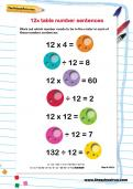 12 times table number sequences worksheet