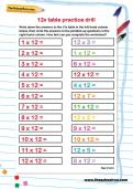 12 times table practice drill worksheet