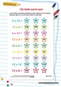 12 times table quick quiz worksheet