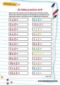 2 times table practice drill worksheet